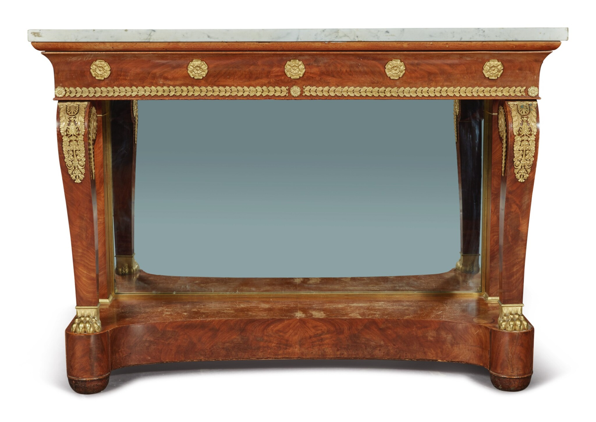 View full screen - View 1 of Lot 92. An Empire Gilt Bronze-Mounted Mahogany Console, Circa 1815.
