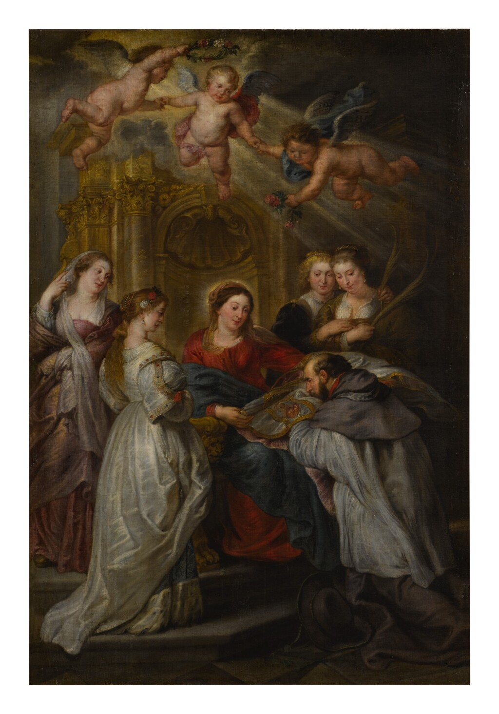 FOLLOWER OF SIR PETER PAUL RUBENS   SAINT ILDEFONSO RECEIVING THE CHASUBLE FROM THE VIRGIN