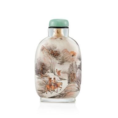View 1. Thumbnail of Lot 3056. An Inside-Painted Glass 'Equestrians in a Landscape' Snuff Bottle By Zhang Baotian, Dated Wuxu Year, Corresponding to 1898 | 戊戌(1898年) 張葆田作玻璃內畫狩獵圖鼻煙壺 《戊戌秋月張葆田作》款.