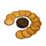 A set of twelve Elizabethan polychrome decorated sycamore roundels, late 16th/early 17th century