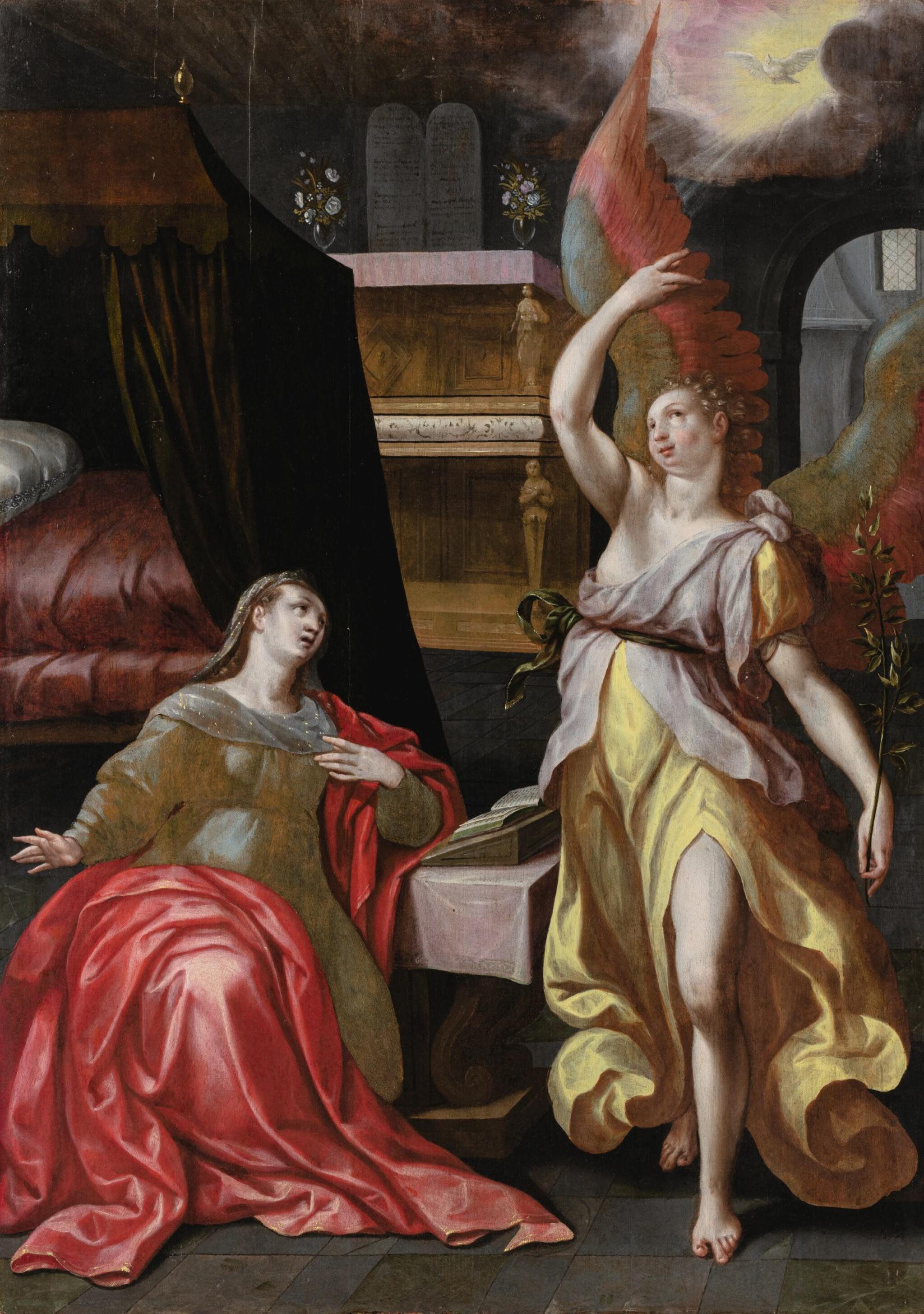 View full screen - View 1 of Lot 4. CIRCLE OF MAERTEN DE VOS   |  THE ANNUNCIATION.