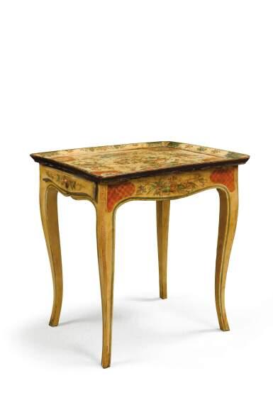 A POLYCHROME PAINTED WOOD 'EN CABARET' TABLE, THE 18TH CENTURY VENITIAN TOP [TABLE EN CABARET EN BOIS PEINT POLYCHROME, LE PLATEAU VÉNITIEN DU MILIEU DU XVIIIE SIÈCLE]