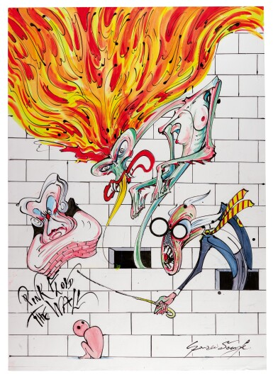 "SCARFE | Pink Floyd's ""The Wall"" - Teacher, Wife, Mother and Pink, original drawing"