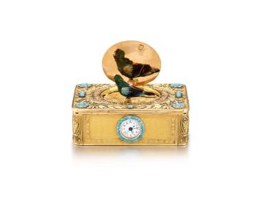 "View 2. Thumbnail of Lot 2092. LES FRÈRES ROCHAT   NO 181, A VARI-COLOUR GOLD AND TURQUOISE SINGING BIRD BOX WITH QUARTER REPEATING WATCH, CIRCA 1820   ""NO181 多色黃金鑲綠松石鳥鳴盒子,備大三針及二問鐘錶,約1820年製""."