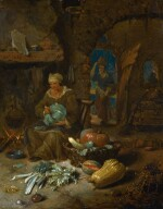WILLEM KALF |  Barn interior with an old woman and still life of vegetables