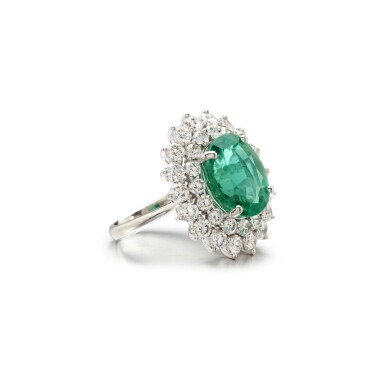 View 2. Thumbnail of Lot 4. EMERALD AND DIAMOND RING.
