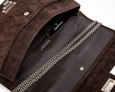 View 4. Thumbnail of Lot 61. Dark brown suede leather and silver-tone metal 2.55 reissue shoulder bag.