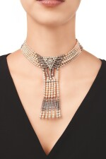 PEARL AND DIAMOND CHOKER-NECKLACE, CARTIER, PARIS | 珍珠配鑽石項圈,卡地亞