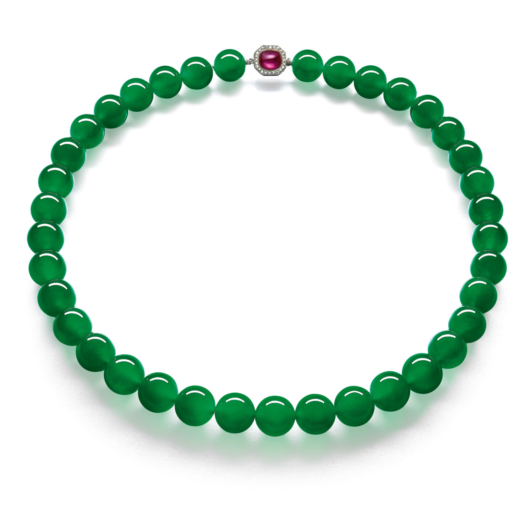 View 1 of Lot 1808. AN EXTRAORDINARY 'IMPERIAL JADE' JADEITE BEAD, RUBY AND DIAMOND NECKLACE  超凡極品「帝王玉」天然翡翠珠 配 紅寶石 及 鑽石 項鏈.
