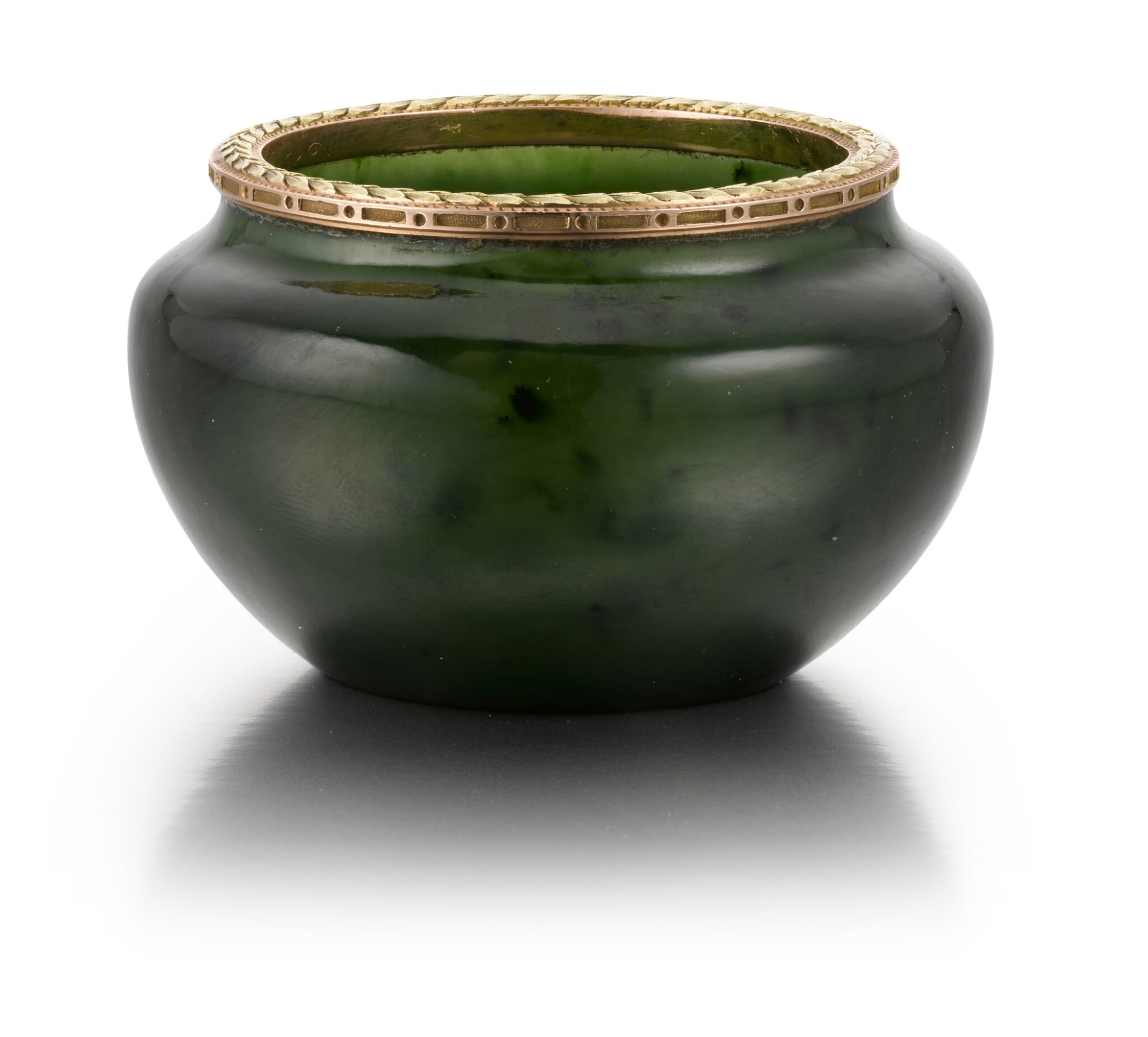 View full screen - View 1 of Lot 49. A Fabergé two colour gold-mounted nephrite bowl, workmaster Michael Perchin, St Petersburg, 1899-1903.