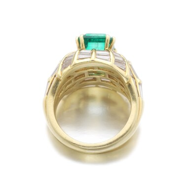 View 3. Thumbnail of Lot 180. EMERALD AND DIAMOND RING.