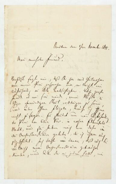 "View 1. Thumbnail of Lot 36. R. Schumann. Autograph letter to Heinrich Dorn about ""Das Paradies und die Peri"", and his illnesses, 1845."