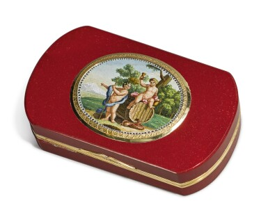 AN ITALIAN GOLD MOUNTED PURPURINE SNUFF BOX WITH MICROMOSAIC, CAMILLO PICCONI, ROME, 1810-1815