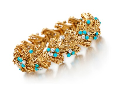 View 1. Thumbnail of Lot 115. TURQUOISE AND DIAMOND BRACELET, CARTIER, 1960S.
