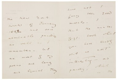 View 2. Thumbnail of Lot 27.  WILDE   Autograph letter signed, to Walter Hamilton, [1889] .