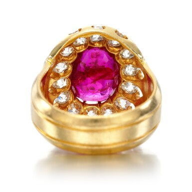 View 3. Thumbnail of Lot 6. Ruby and diamond ring, late 19th century.
