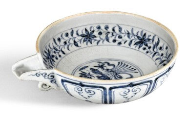 A BLUE AND WHITE POURING BOWL, YI YUAN DYNASTY | 元 青花一把蓮紋匜