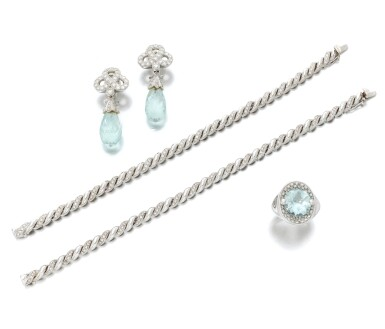 View 2. Thumbnail of Lot 135. Pair of diamond bracelets and aquamarine and diamond demi-parure (Coppia di bracciali in diamanti e demi-parure con acquamarine e diamanti).