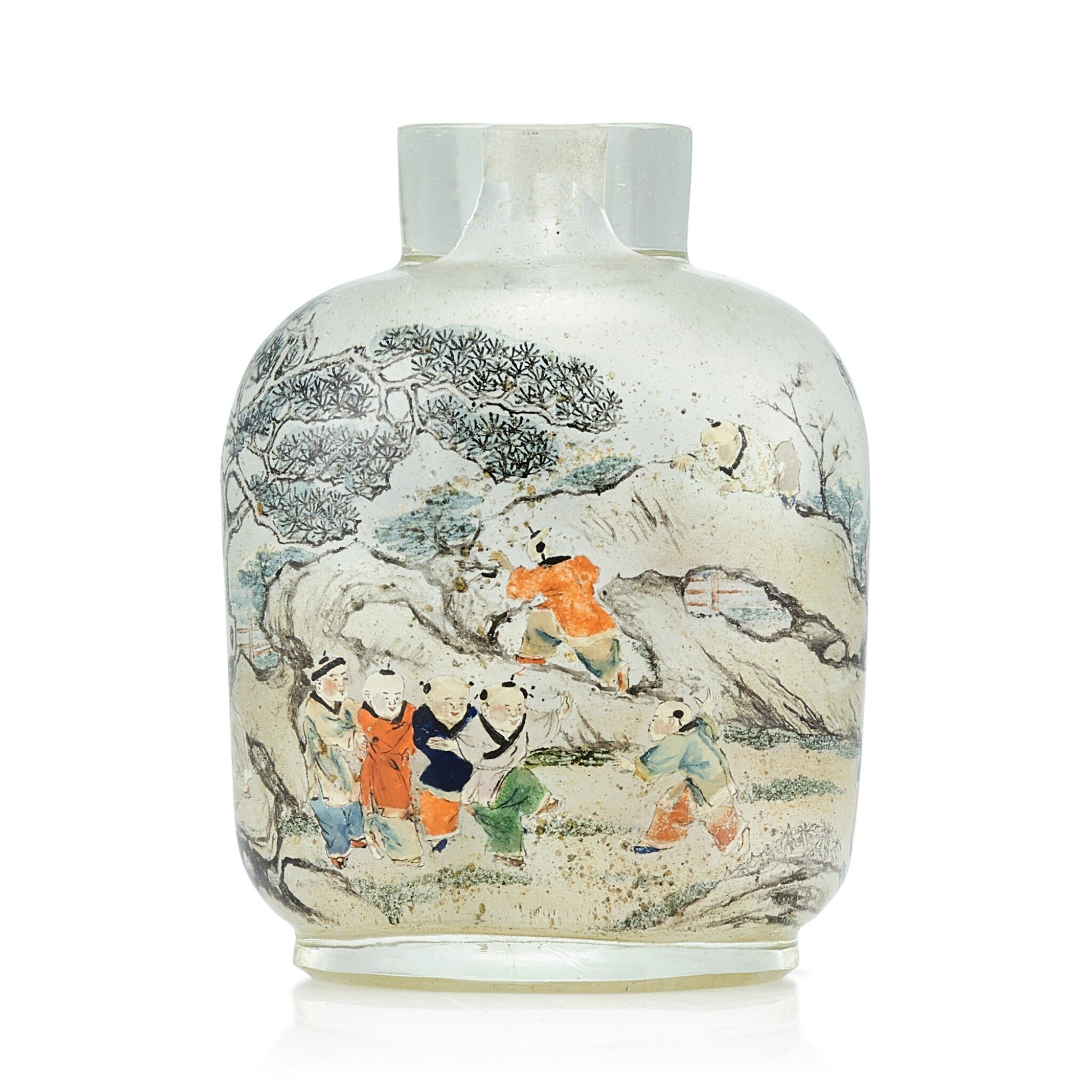 View full screen - View 1 of Lot 3034. An Inscribed Inside-Painted Glass 'Wen Yanbo' Snuff Bottle By Meng Zishou, Dated Xinhai Year, Corresponding to 1911 | 辛亥(1911年) 孟子受作玻璃內畫文彥博灌水浮球圖鼻煙壺.