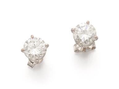 View 1. Thumbnail of Lot 58. PAIR OF DIAMOND EARRINGS   (PAIO DI ORECCHINI IN DIAMANTI).