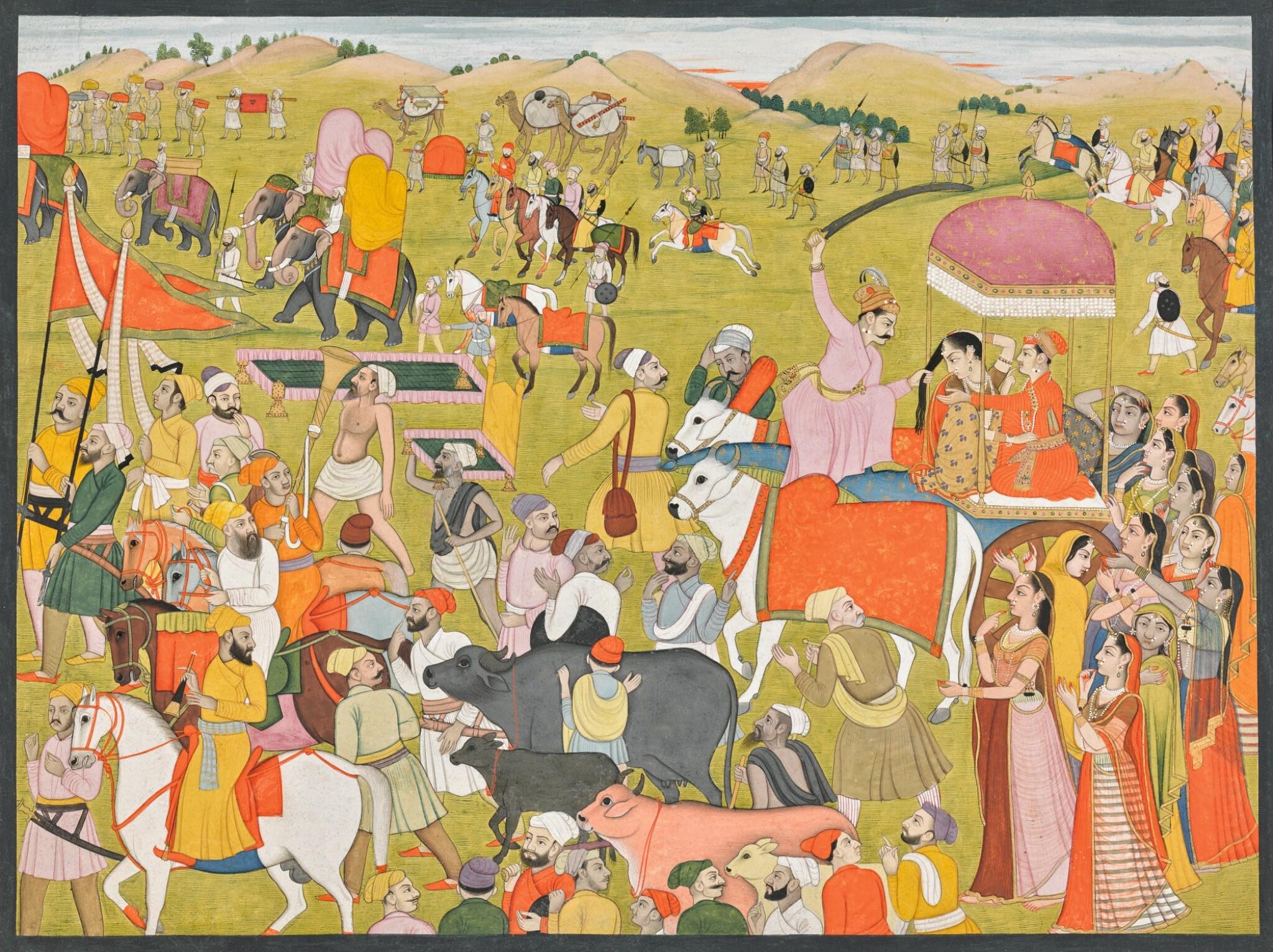 View full screen - View 1 of Lot 186. AN ILLUSTRATION TO THE BHAGAVATA PURANA: KAMSA ATTACKS DEVAKI DURING HER WEDDING PROCESSION, ATTRIBUTED TO A MASTER OF THE FIRST GENERATION AFTER NAINSUKH, INDIA, PAHARI, GULER OR KANGRA, CIRCA 1780.