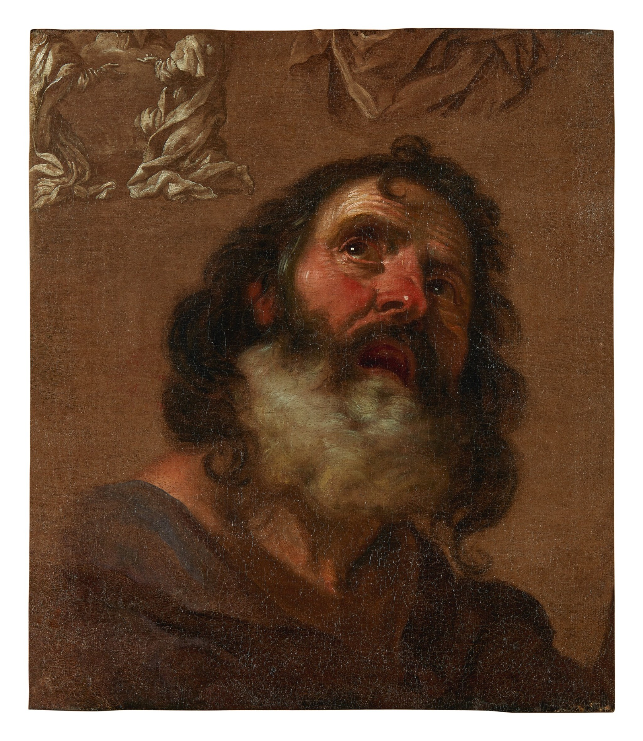 View full screen - View 1 of Lot 74. GIACINTO BRANDI   HEAD OF A BEARDED MAN, WITH COMPOSITIONAL STUDIES EN GRISAILLE.