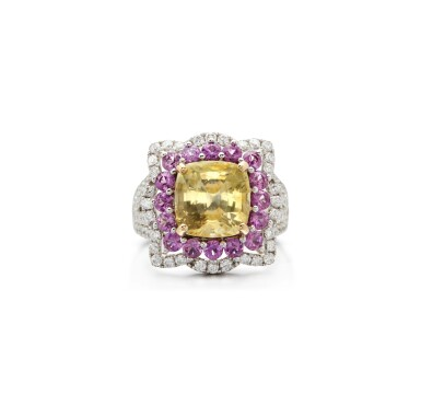 View 1. Thumbnail of Lot 7. COLOURED SAPPHIRE AND DIAMOND RING.