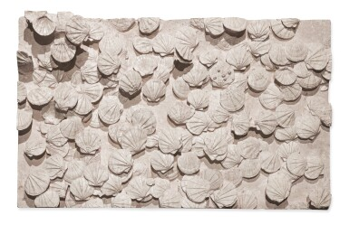 View 1. Thumbnail of Lot 141. A LARGE MURAL OF FOSSILIZED SAINT-JACQUES SHELLS..