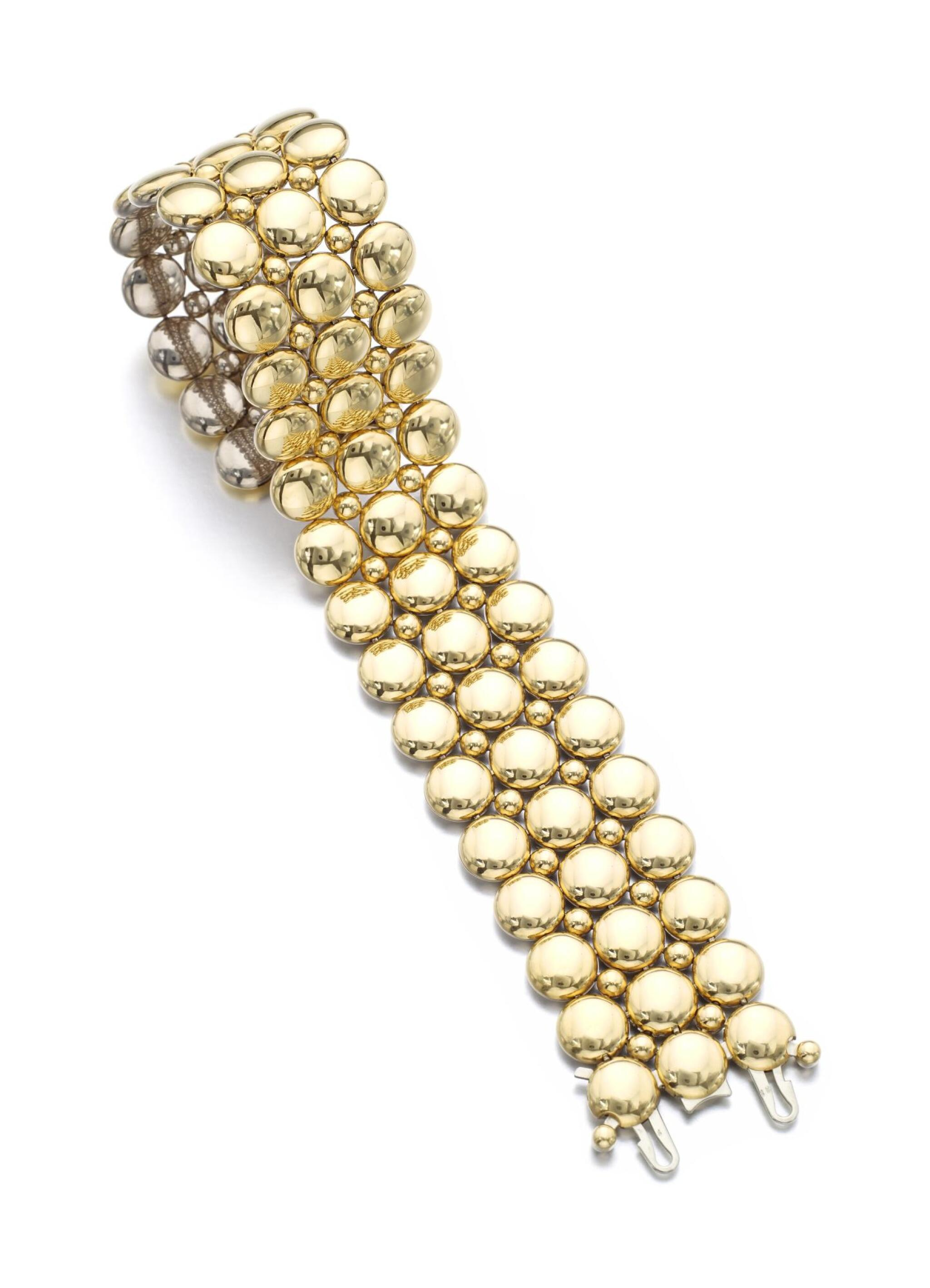 View full screen - View 1 of Lot 10. TWO TONE GOLD BRACELET, 'LA CRÉATION' | CARTIER.