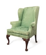 A GEORGE II WING ARMCHAIR, PROBABLY 18TH CENTURY