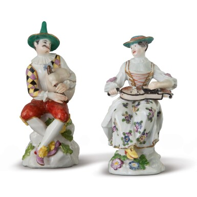 View 1. Thumbnail of Lot 564. AN ASSEMBLED PAIR OF MEISSEN FIGURES OF HARLEQUIN AND COLUMBINE, CIRCA 1750.