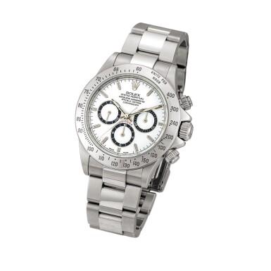 View 2. Thumbnail of Lot 2147. Rolex | Cosmograph Daytona, Reference 16520, A stainless steel chronograph wristwatch with bracelet, Circa 1999 | 勞力士 | Cosmograph Daytona 型號16520    精鋼計時鏈帶腕錶,約1999年製.