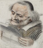 A cleric reading a letter, a quill behind his ear