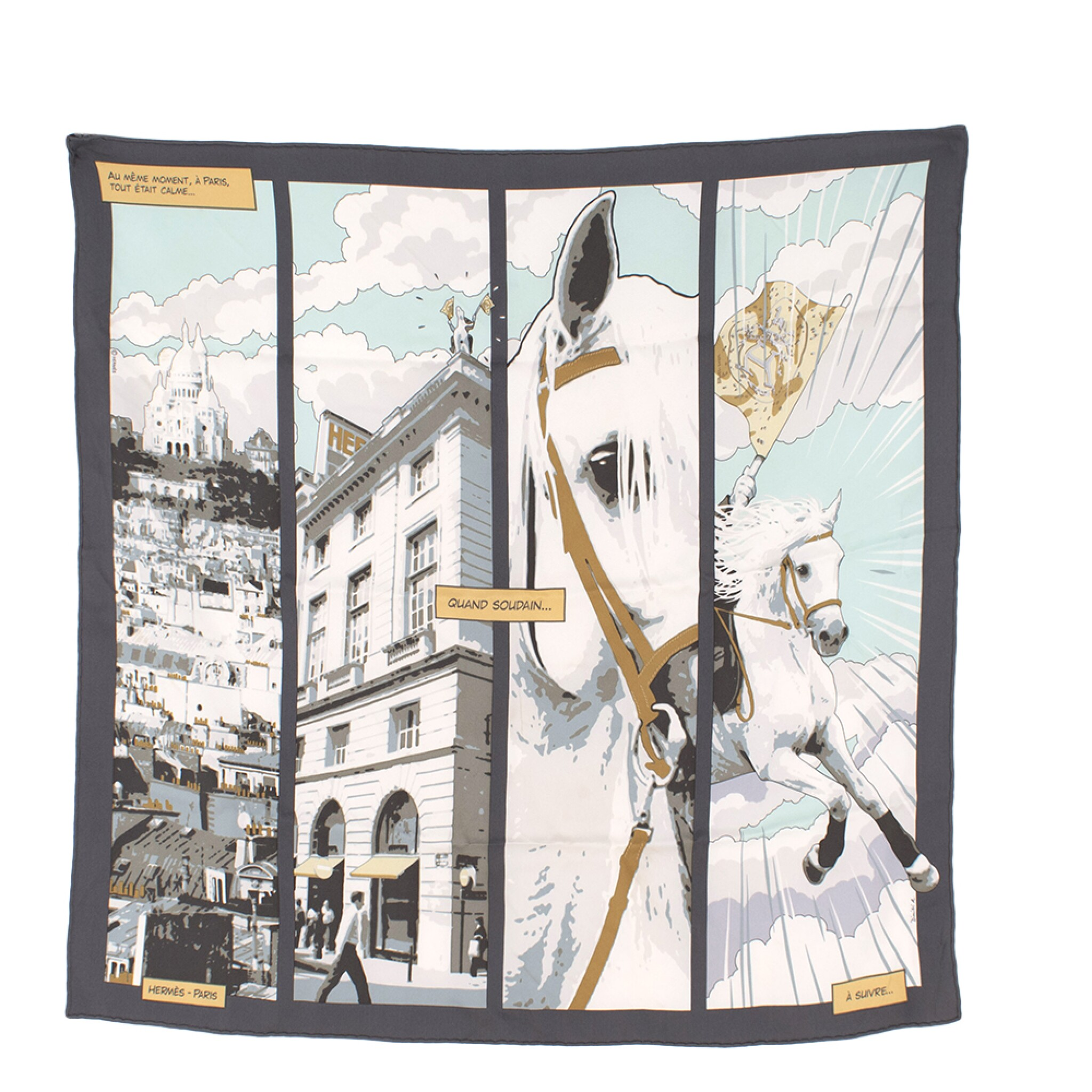 View full screen - View 1 of Lot 193. HERMÈS | SILK SCARF 70 IN ANTHRACITE AND TURQUOISE QUAND SOUDAIN PRINT. DESIGNED BY DIMITRI RYBALTCHENKO, 2010.