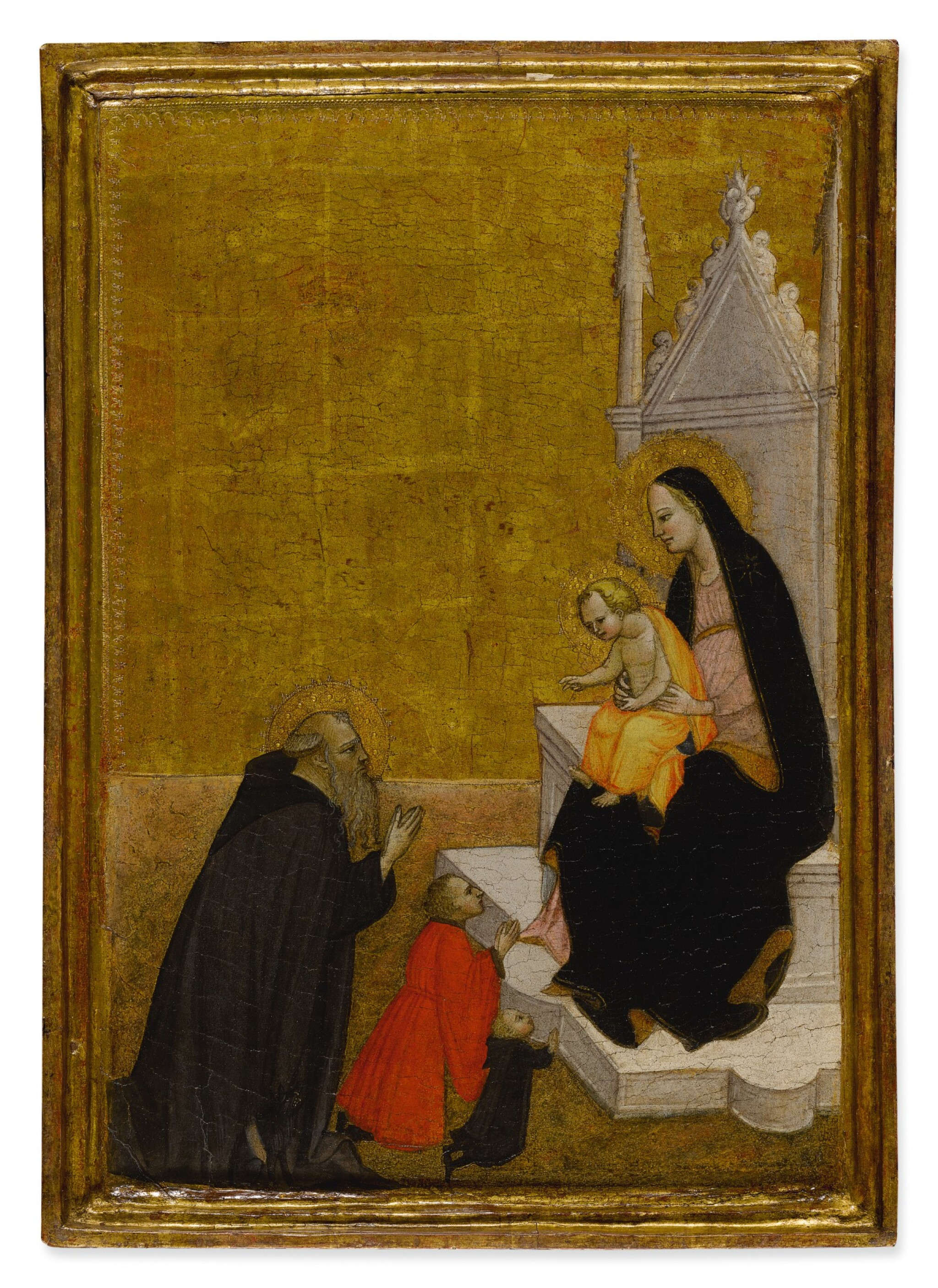 View 1 of Lot 2. VENTURA DI MORO | MADONNA AND CHILD WITH SAINT ANTHONY AND TWO DONORS.