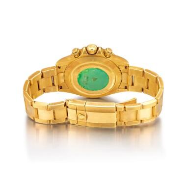 View 4. Thumbnail of Lot 2150. Rolex | Cosmograph Daytona, Reference 116528, A yellow gold chronograph wristwatch with bracelet, Circa 2000 | 勞力士 | Cosmograph Daytona 型號116528  黃金計時鏈帶腕錶,約2000年製.
