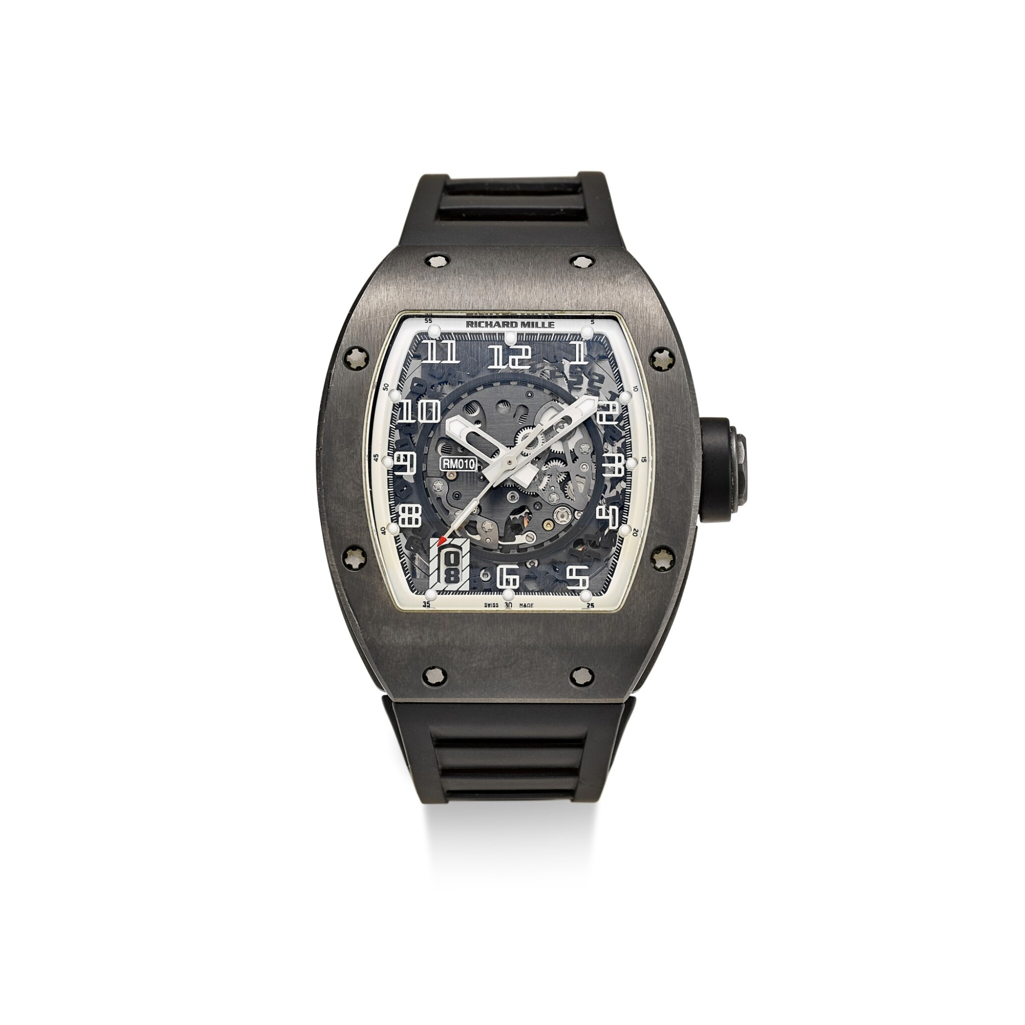 View full screen - View 1 of Lot 354. RICHARD MILLE | RM010 A LIMITED EDITION DLC-COATED TITANIUM SEMI-SKELETONISED WRISTWATCH WITH DATE, MADE FOR THE PARIS BOUTIQUE, CIRCA 2010.