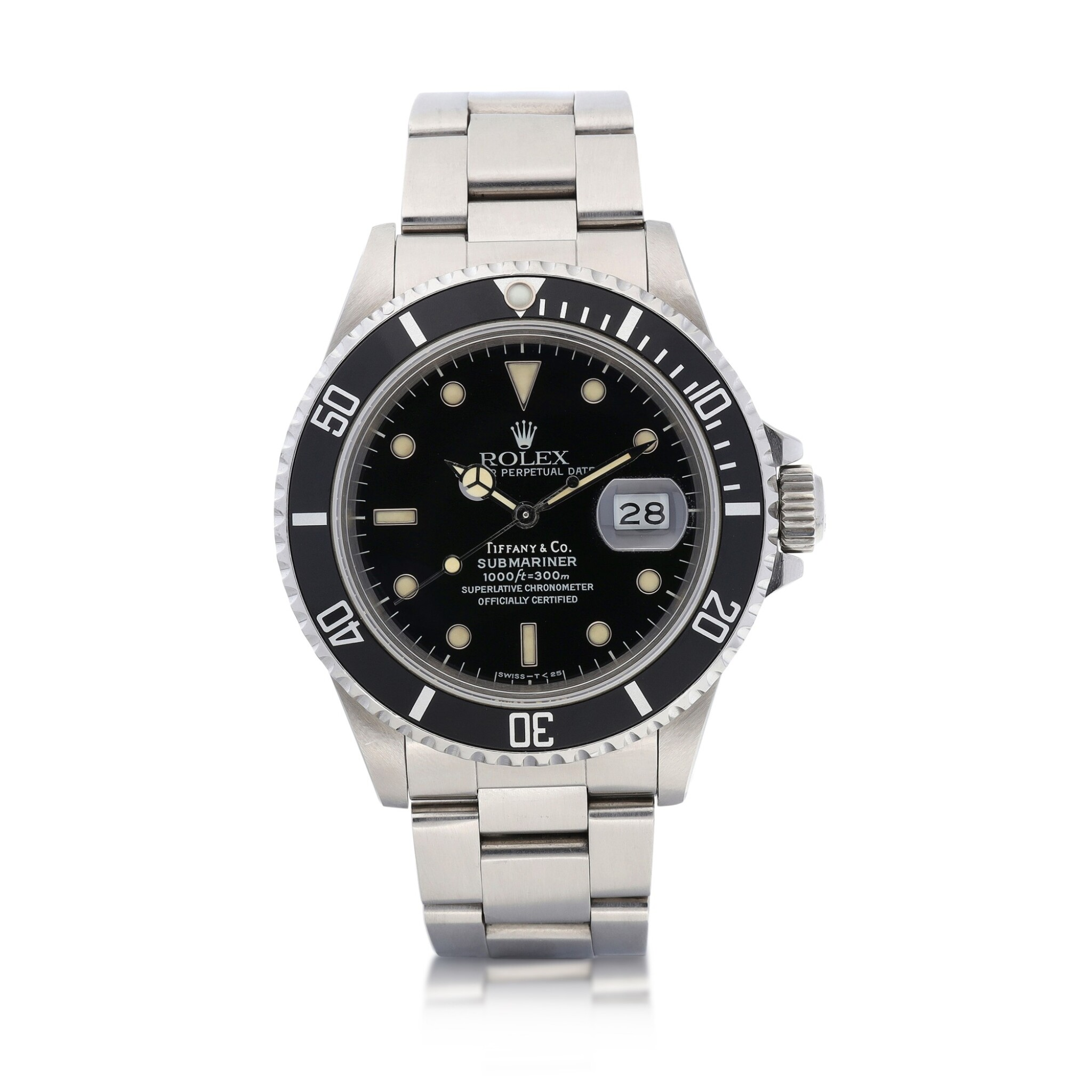 View 1 of Lot 8015. Rolex | Submariner, Reference 168000, A stainless steel wristwatch with date and bracelet, Retailed by Tiffany & Co., Circa 1988 | 勞力士 | Submariner 型號168000   精鋼鏈帶腕錶,備日期顯示,由Tiffany & Co.發行,約1988年製.