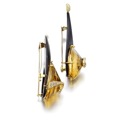 View 2. Thumbnail of Lot 31. MICHELE DELLA VALLE   PAIR OF CITRINE AND DIAMOND BROOCHES.