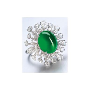 View 2. Thumbnail of Lot 1764. JADEITE AND DIAMOND RING  天然翡翠 配 鑽石 戒指.