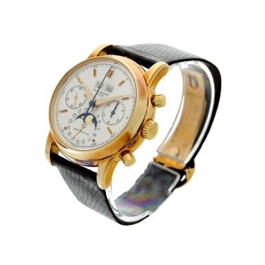 REFERENCE 2499/100 'FOURTH SERIES' RETAILED BY TIFFANY & CO.: A YELLOW GOLD PERPETUAL CALENDAR CHRONOGRAPH WRISTWATCH WITH MOON PHASES, 24 HOURS AND LEAP YEAR INDICATION, MADE IN 1981