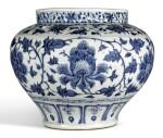 A LARGE BLUE AND WHITE 'PEONY' JAR YUAN DYNASTY | 元 青花纏枝牡丹紋罐