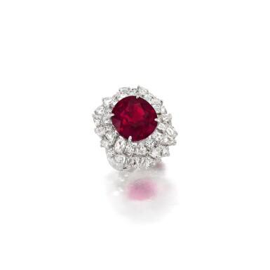 RUBELLITE AND DIAMOND RING 碧璽 配 鑽石 戒指