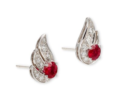 GRAFF | 'FLAME' PAIR OF RUBY AND DIAMOND EARRINGS | 格拉夫 | 'Flame' 紅寶石 配 鑽石 耳環一對