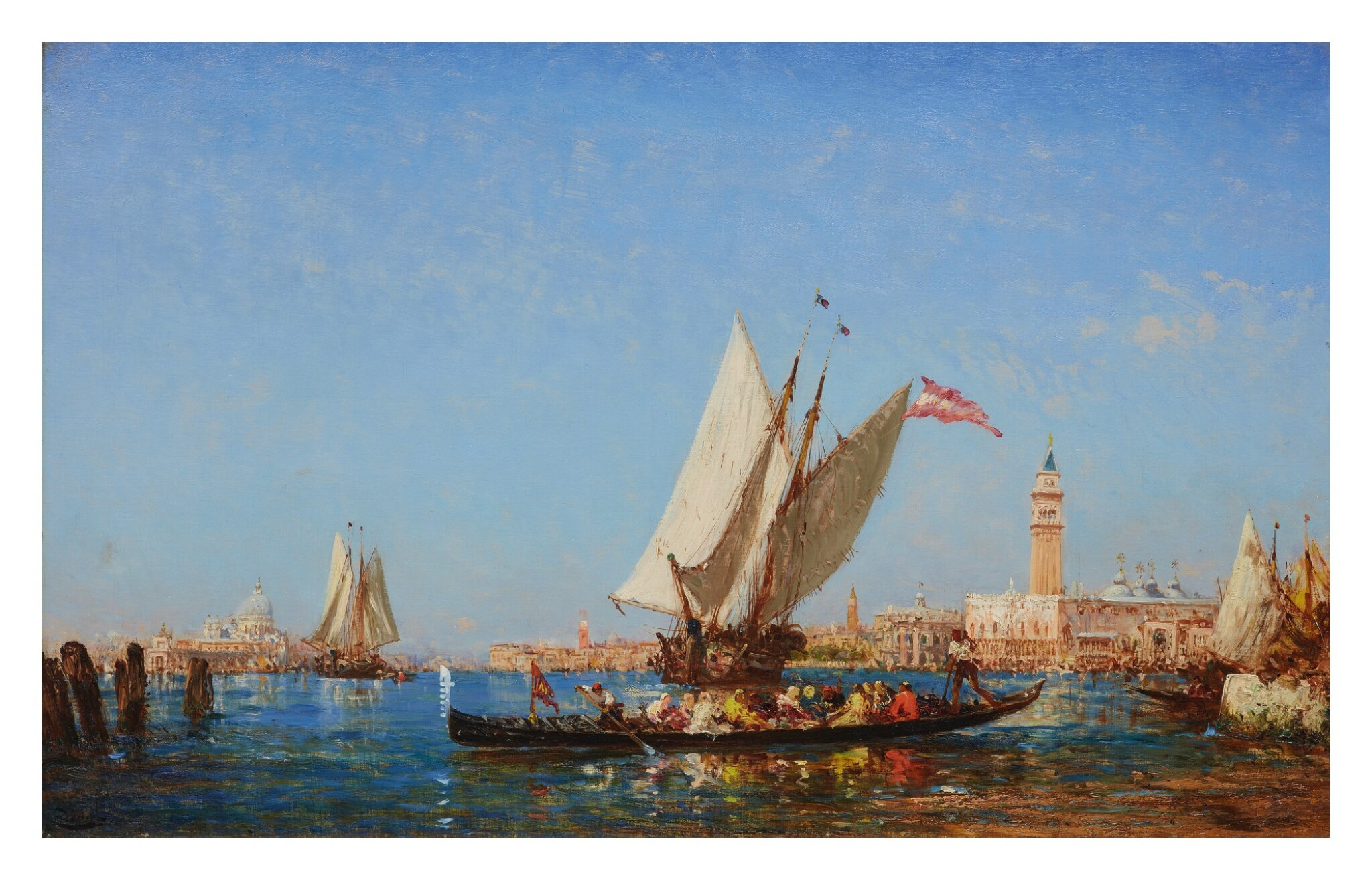 View full screen - View 1 of Lot 28. FÉLIX ZIEM | BOATS ON THE BACINO SAN MARCO, WITH THE PUNTA DELLA DOGANA, SANTA MARIA DELLA SALUTE, PALAZZO DUCALE AND THE CAMPANILE IN THE DISTANCE, VENICE.