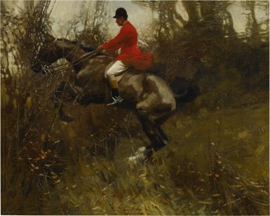 View 1. Thumbnail of Lot 57. SIR ALFRED JAMES MUNNINGS, P.R.A., R.W.S. | A HUNTSMAN TAKING A DITCH.