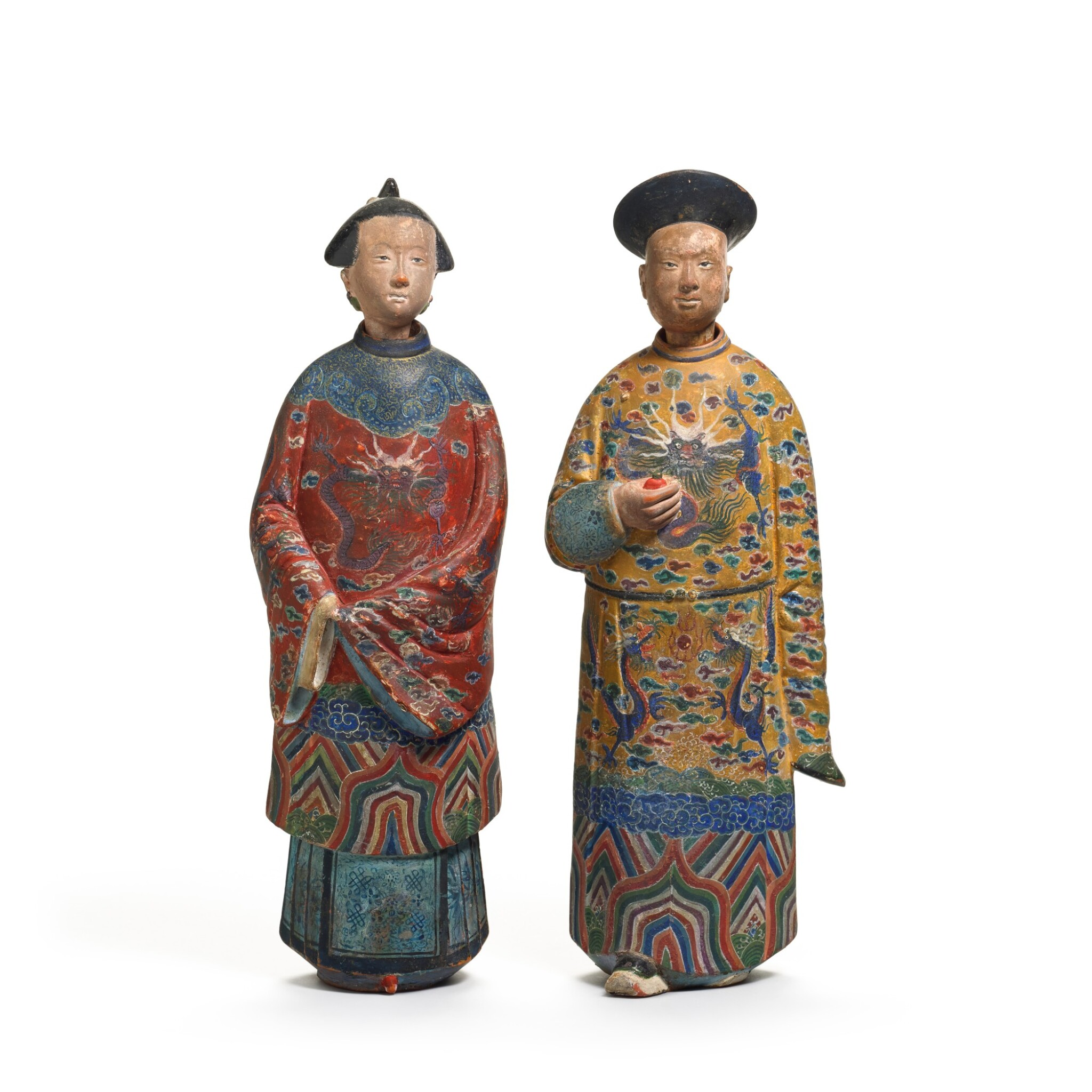 View full screen - View 1 of Lot 102. A pair of Chinese Export polychrome decorated clay nodding figures, early 19th century.