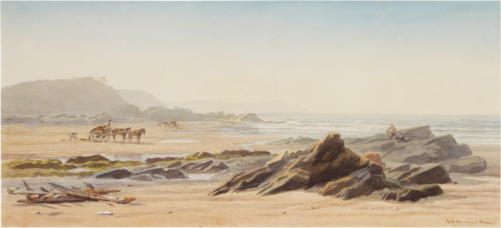 View full screen - View 1 of Lot 223. Seaweed gatherers on the beach, Guernsey.