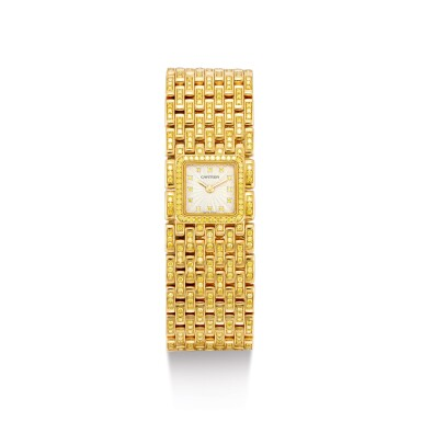 """View 1. Thumbnail of Lot 2053. CARTIER   PANTHÉRE, REFERENCE 2449, A UNIQUE YELLOW GOLD AND YELLOW DIAMOND-SET BRACELET WATCH, MADE ON SPECIAL REQUEST, CIRCA 2000   卡地亞   """"Panthére 型號2449 獨一無二黃金鑲黃鑽石鏈帶腕錶,為特殊訂製,錶殼編號99851CD,約2000年製""""."""