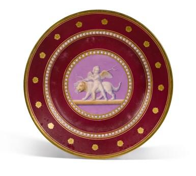 View 7. Thumbnail of Lot 105. A Royal presentation set of eighteen Royal Copenhagen claret-ground plates, circa 1858.